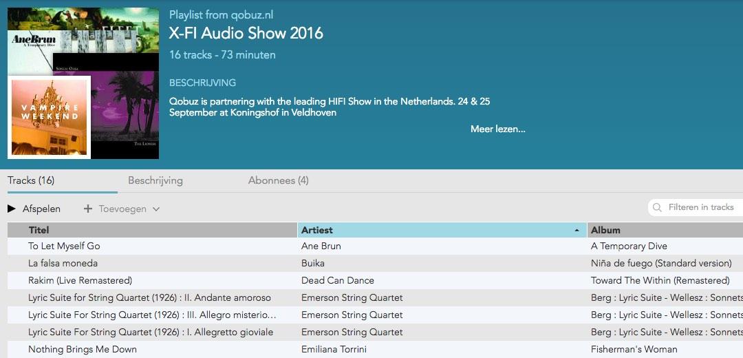 X-Fi Audioshow 2016 playlist